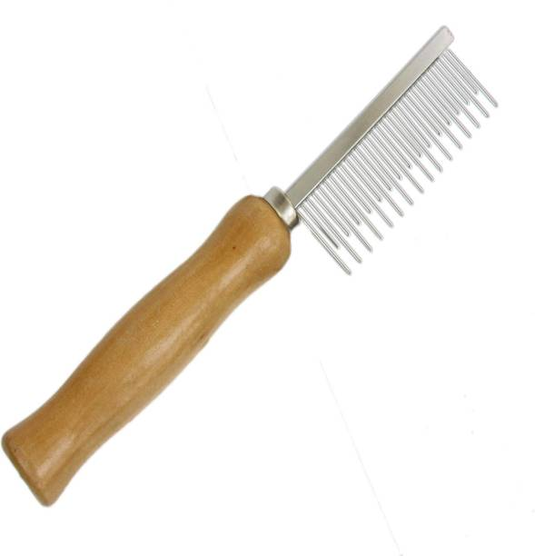 Furious3D Pet Hair Flea Comb Stainless Steel Pin Dog Grooming Brush With Wooden Grip Handle Rakes for  Dog, Horse, Cat