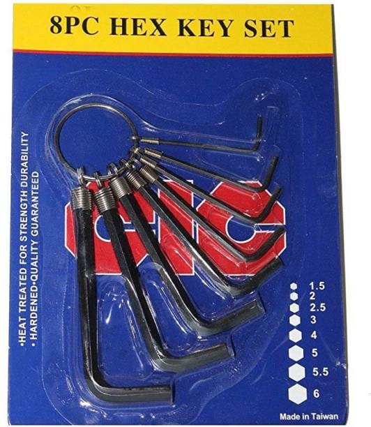 Digital Craft CIC 8Pc Mini Hex Key Set Allen Key Set Wrench L Shape Hexagonal Spanner Wrench Set Repair Tools Allen Key Set