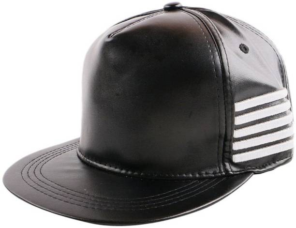 f567602bad4 Raydon Solid Solid Black Leather Stylish Side Line Hip Hop Snap-back Cap