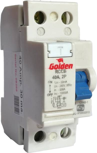GR Golden Single Phase 2 Pole RCCB + ISI Marked MCB 40Amp/30ma With High Voltage, Overload Protection (Shock Guard) 2P MCB