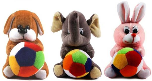 BABIQUE Combo Dog Rabbit And Elephant Cute Soft Toy for Kids Birthday (19 Cm)  - 19 cm
