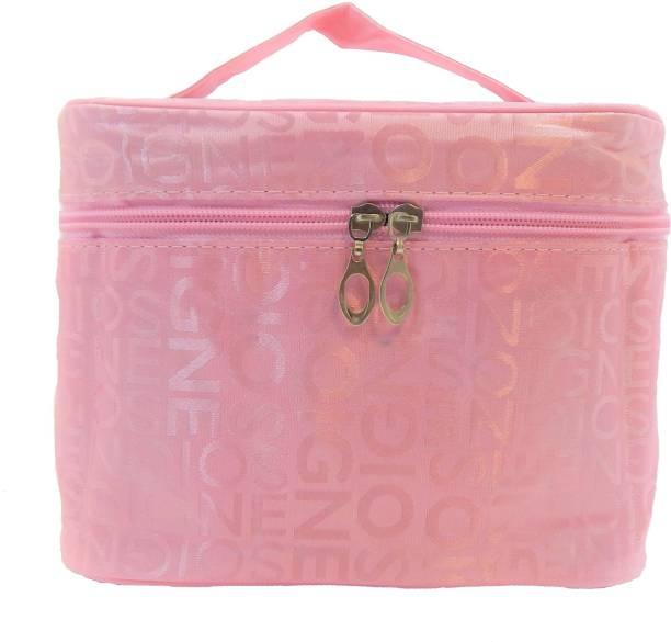 RK Brands Designer Folding Portable Light Pink Multiple Compartments Travel Makeup Vanity Box