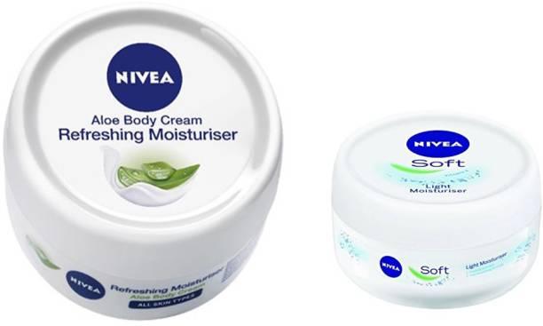 Nivea ALOE BODY CREAM REFRESHING MOISTURISER 200 ML + SOFT LIGHT MOISTURISER 100ML