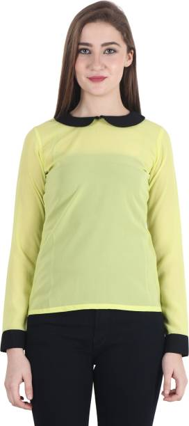 655714531e343 FASHION AERO Casual Full Sleeve Self Design Women s Yellow Top