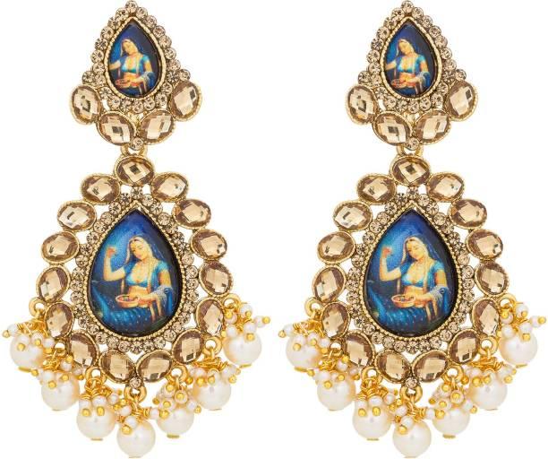 Luxor Er 1825 Diamond Alloy Dangle Earring