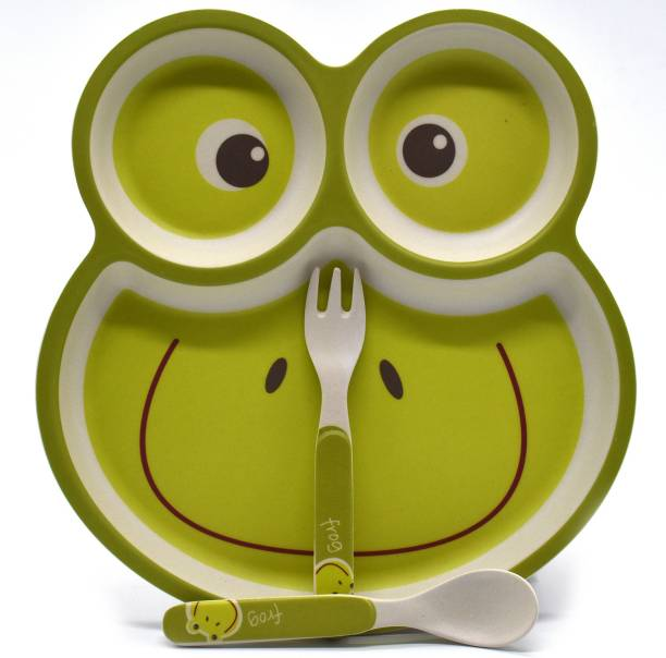 SHOPNJAZZ Eco Friendly Bamboo Fibre Kids Straw Feeding Set with Divider Plate - Frog/Green