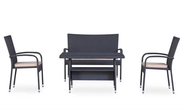 Furnspace Black Metal Table, Chair & Bench Set