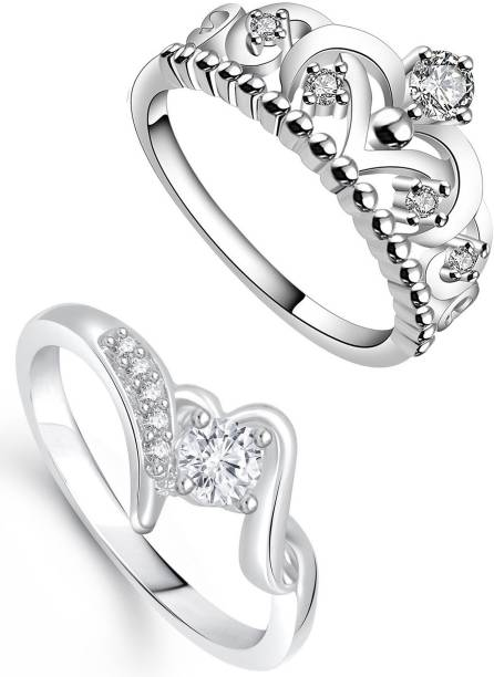 c0a5373da16314 Lady Touch Lady touch Combo Of Silver Plated Crown Flolar Desinger  Adjustable Rings For Girls