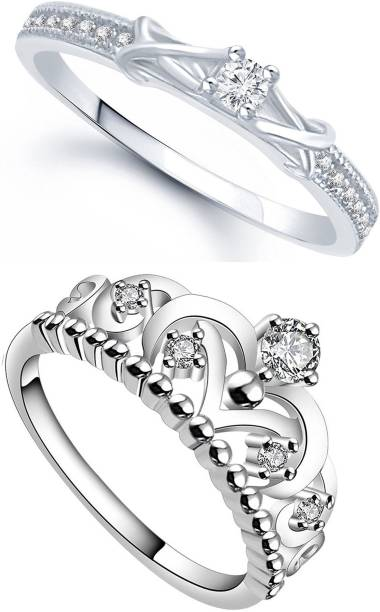 Lady Touch Lady touch Combo Of Silver Platinum Plated Crown Flolar Desinger  Adjustable Rings For Girls c91bb9146