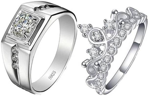 a462b33c0 MYKI King & Queen Love Forever Adjustable Couple Rings Sterling Silver  Swarovski Zirconia 24K White Gold