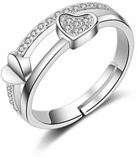 1c408b7abe15 MYKI Smoky Heart Shape Adjustable Ring For Women Sterling Silver Swarovski  Zirconia 24K White Gold Plated