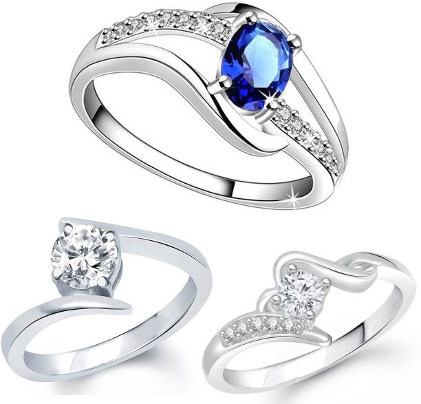 Lady Touch Lady touch Combo Of Silver Plated Blue Diamond Ring For Girl s  And Women  f4a2e2c31