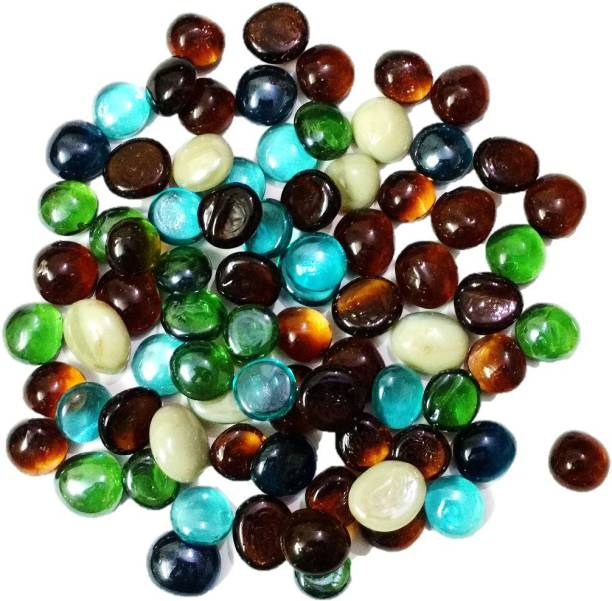 DS Creations Decorative multicolored glass stone/beads, approx 80 pieces Marble Unplanted Substrate