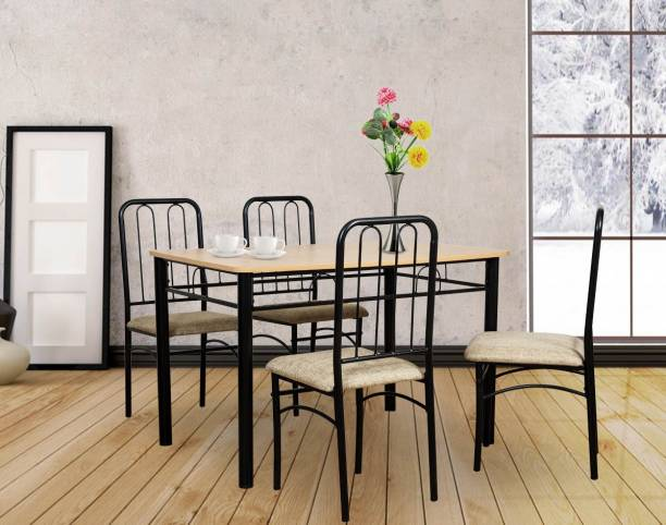 FurnitureKraft Detroit Metal 4 Seater Dining Set