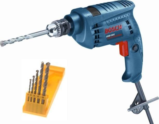 BOSCH Bosch 500 W GSB 501 drill machine with 5 high quality drill bits 500 W GSB 501 drill machine with 5 high quality drill bits Pistol Grip Drill