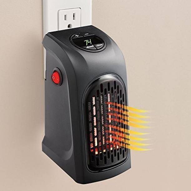 MAHANT MR187 Small Electric Handy Room Heater Compact Plug-in - The Wall Outlet Space Heater 400Watts Garage Bathroom Home - Handy Air Warmer Blower Adjustable Timer Digital Display for Office/Camper Fan Room Heater