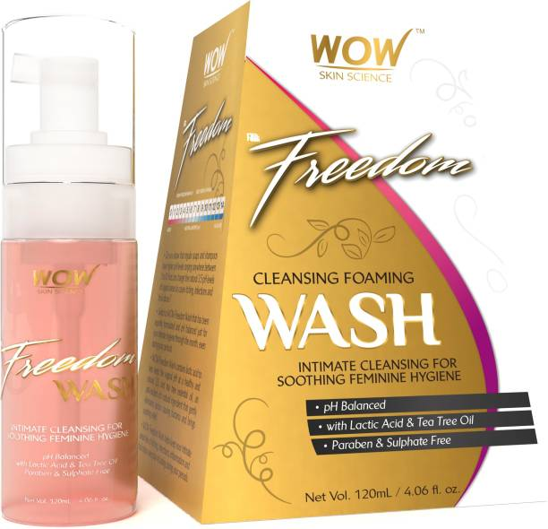 WOW SKIN SCIENCE Freedom Cleansing Foam Wash, Lactic Acid and Tea Tree Oil, Intimate Foam