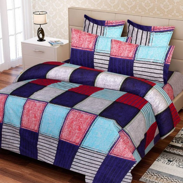 Supreme Home Collective 104 TC Cotton Double Checkered Bedsheet