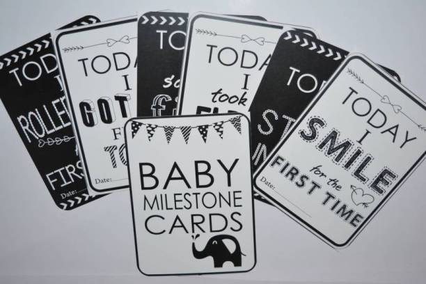GALAXY COMFORT Set Of 27 Baby Milestone Cards, Baby Shower Gift, Newborn Gift, Baby Photo Props, Baby Monthly Card, Monochrome Baby Gift, New Baby Card Game Greeting Card