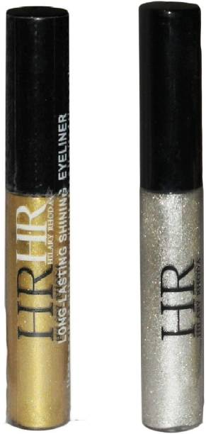 HR combo of 2 waterproof glitter eye liner silver gold 5 ml