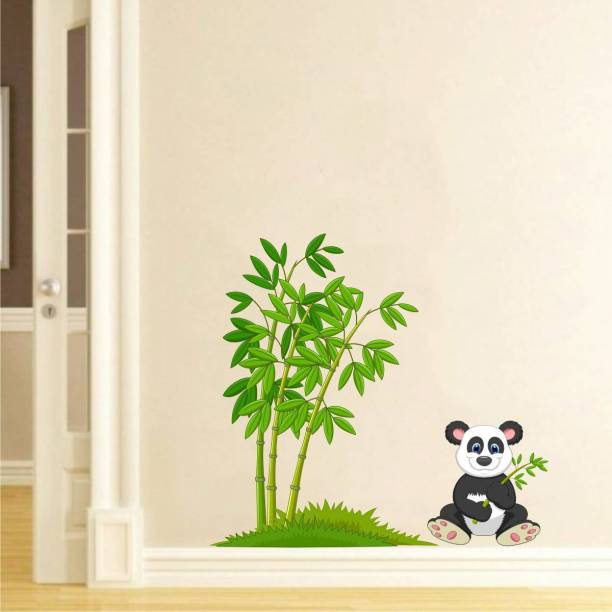 Rawpockets Decals ' Panda ' Large Size Wall Sticker ( Wall Coverage Area - Height 65 cms X Width 70 cms )(Pack of 1)