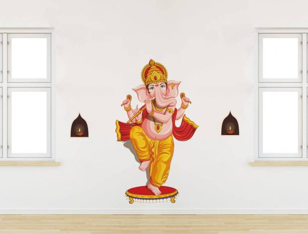 Rawpockets Decals ' Lord Ganesha' Large Size Wall Sticker ( Wall Coverage Area - Height 100 cms X Width 115 cms )(Pack of 1)