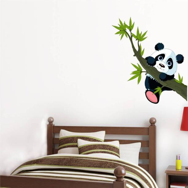 Rawpockets Decals ' Panda on Tree ' Large Size Wall Sticker ( Wall Coverage Area - Height 70 cms X Width 60 cms )(Pack of 1)