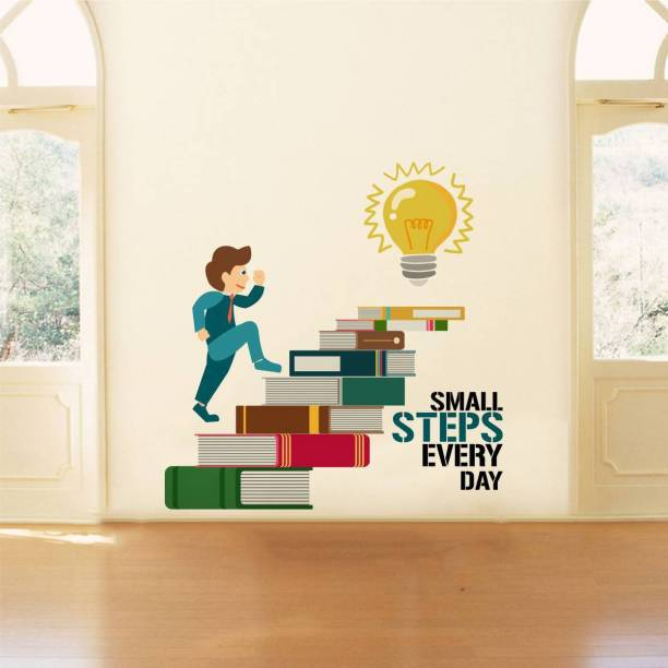 Rawpockets Decals ' Small Steps Every Day Motivation Quote' Large Size Wall Sticker ( Wall Coverage Area - Height 85 cms X Width 85 cms )(Pack of 1)