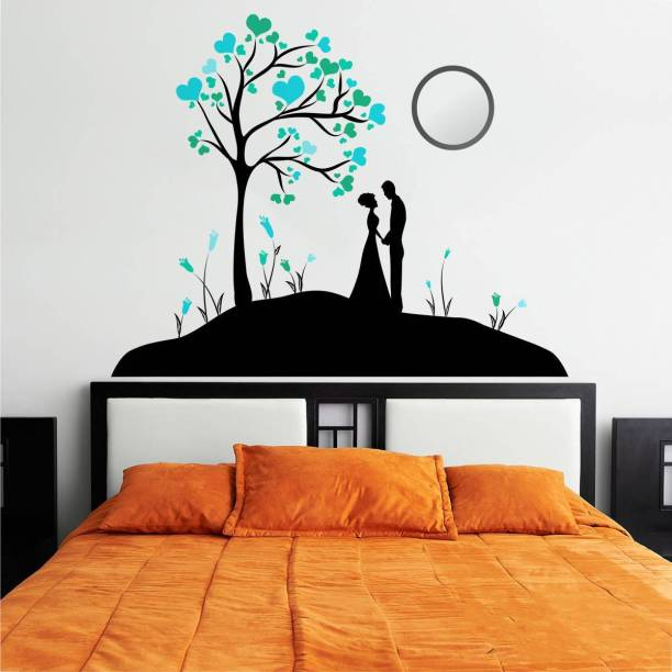 Rawpockets Decals ' Lovely Couple Under the tree ' Large Size Wall Sticker ( Wall Coverage Area - Height 70 cms X Width 90 cms )(Pack of 1)