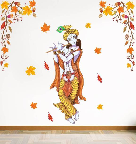 Rawpockets Decals ' Lord krishna and Autumn Leaf' Large Size Wall Sticker ( Wall Coverage Area - Height 110 cms X Width 100 cms )(Pack of 1)