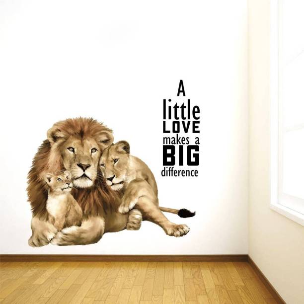 Rawpockets Decals ' Animal love quotes' Large Size Wall Sticker ( Wall Coverage Area - Height 60 cms X Width 55 cms )(Pack of 1)