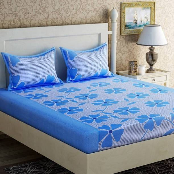 Home Furnishing - Bed 144 TC Cotton Double Floral Bedsheet