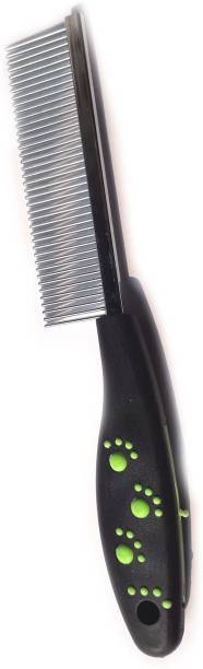 W9 Imported Pet Comb Stainless Steel Pin Dog Grooming Brush With Bathing Glove (Black) Basic Comb for  Dog & Cat