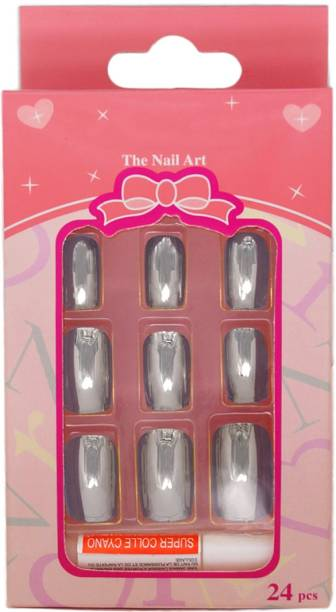 One Personal Care Chrome-On   Mirror Finish Square Oval Tip Extension with Nail Glue