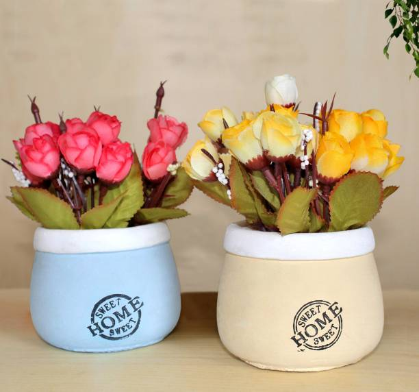 TIED RIBBONS Artificial Flowers with Pot for office table living room bedroom gift(Set of 2) Artificial Plant  with Pot