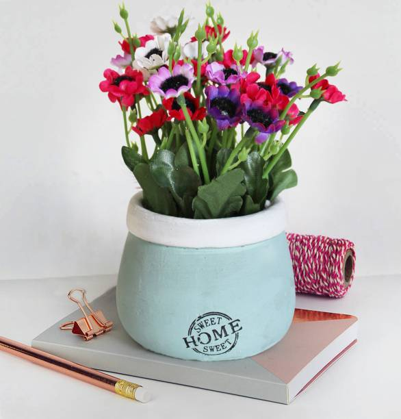 TIED RIBBONS Artificial Flowers with Vase for gift office table living room bedroom Artificial Plant  with Pot