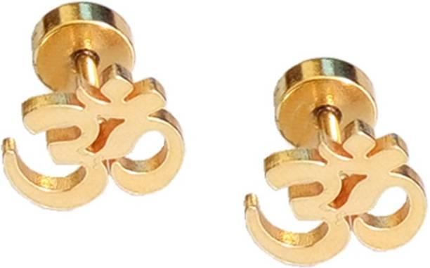 Rich Famous Men Jewellery Om Designer Earrings Steel Stud Earring