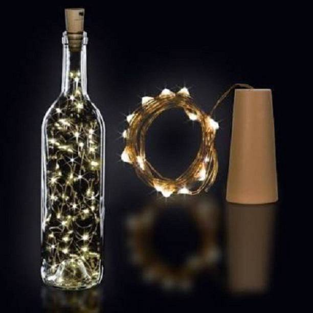 Copper String LED light 2 MTR 20 LED Bottle cork Operated Decorative Lights 78 inch Yellow Rice Lights