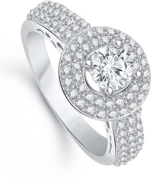 b2d9e5b840 Lady Touch Lady touch Royal Solitaire Rhodium Plated Ring For Girls and  Women's_Adjustable (