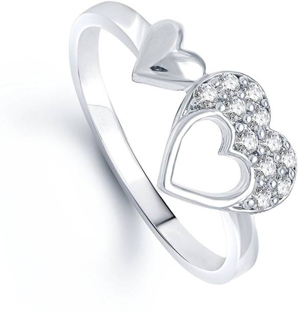 6e5e772aa99ac0 Lady Touch Lady touch Double Heart (Cz) Rhodium Plated Ring For Girls    Women