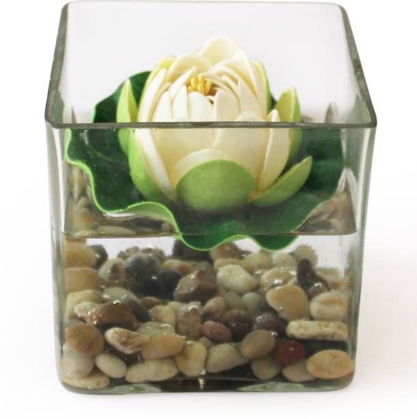 TIED RIBBONS Square glass vessel with faux Lotus and natural stones Flower Vase for Home Décor With Flower Iron Vase
