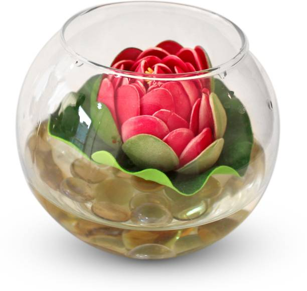 TIED RIBBONS Round glass vessel with faux Lotus and natural stones Flower Vases for Home Décor With Flowers Iron Vase