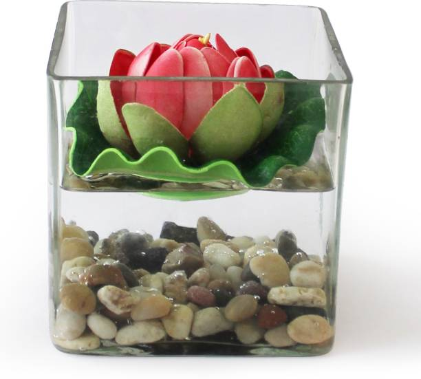 TIED RIBBONS Square glass vessel with faux Lotus and natural stones Artificial Flowers for Decoration With Pot Iron Vase