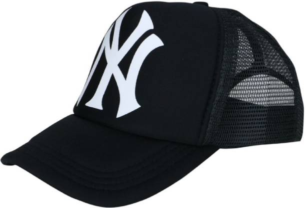 d06d18588a80f ODDEVEN Printed Black NY Printed Half Net Caps, Trucker Cap For Boys And  Girls Caps