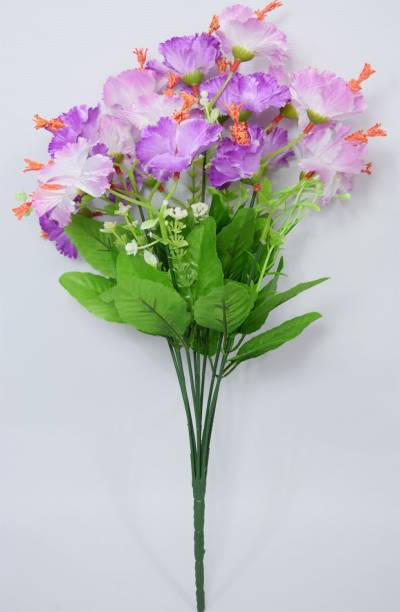 FOURWALLS Decorative Artificial Hibiscus Flower Bunch for Home d�cor (48 cm Tall, 20 Heads, White) Purple Wild Flower Artificial Flower
