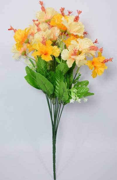FOURWALLS Decorative Artificial Hibiscus Flower Bunch for Home d�cor (48 cm Tall, 20 Heads, Yellow) Yellow Hibiscus Artificial Flower