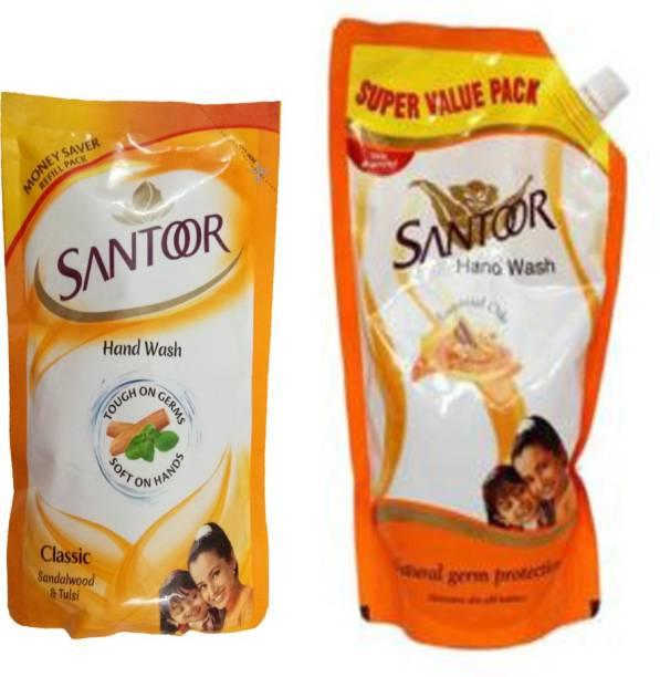 santoor CLASSIC SANDALWOOD & TULSI HANDWASH 750 ML+CLASSIC SANDALWOOD & TULSI HANDWASH 180 ML Hand Wash Pouch