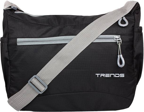Trends Men & Women Casual Black Polyester Sling Bag