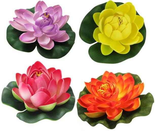 TIED RIBBONS Set of 4 Artificial Floating Lotus Flowers with Rubber Leaf Multicolor Rose Artificial Flower