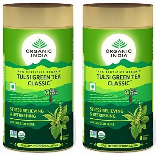 ORGANIC INDIA Tulsi Green Tea Classic 100gm Tin ( Pack of 2 ) Tulsi Green Tea Drum